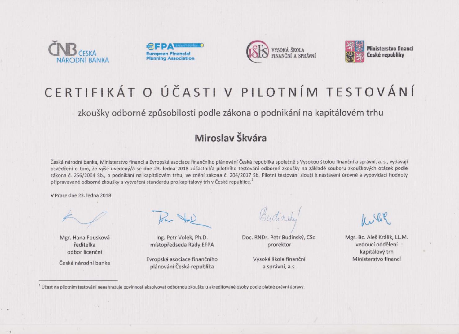 Certifikát o účasti na pilotním testování ZPKT