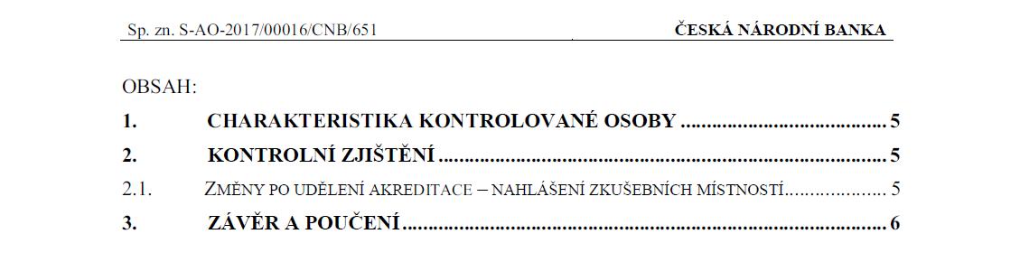 Protokol o kontrole ČNB - obsah